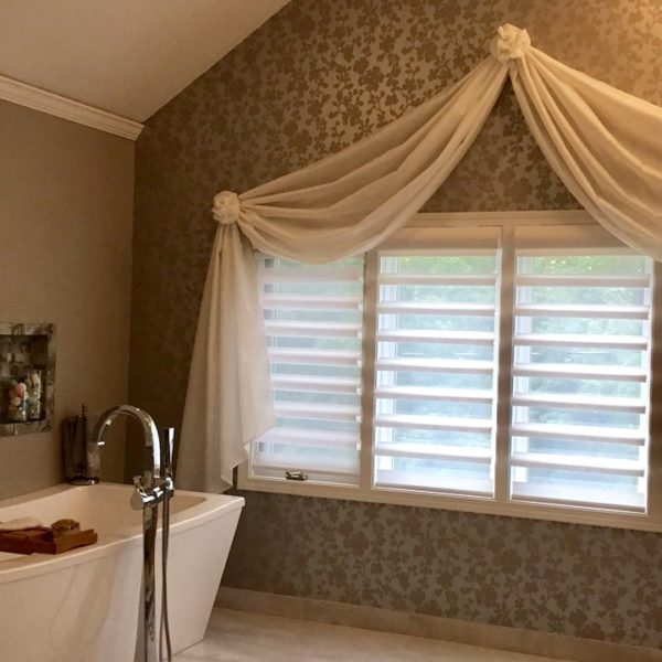 Pirouette® with PowerView® Motorization & Custom Scarf