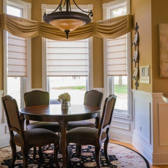 Dining Room Pirouettes® With PowerView® Motorization and Custom Valances in Wayne