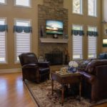 Living Room Pirouettes® with PowerView® Motorization and Custom Valances in Wayne
