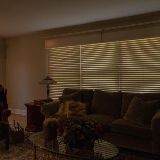Parkland® Classics® and Parkland® Wood Cornices Wood Blinds in West Suburban Family Room