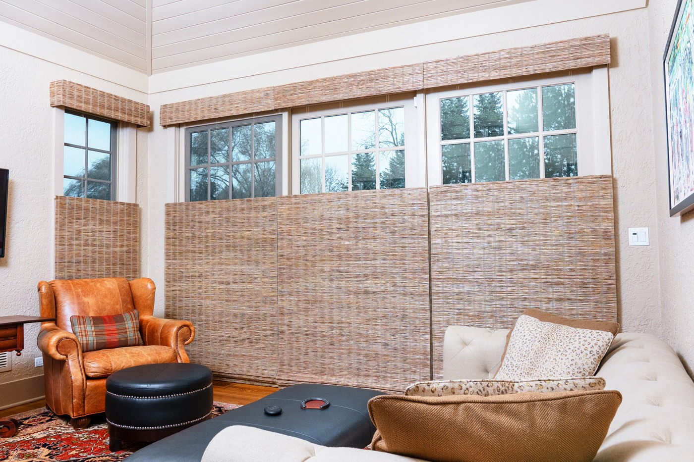 Provenance® Woven Wood Shades with PowerView® Motorization Top Down and Bottom Up